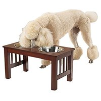 Pet Studio Wooden Mission Raised Pet Diner With Stainless Steel Bowls, Pint, Cherry