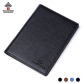 Primely Genuine Leather Travel Wallet & Passport Holder - SHANSHUI RFID Protection Credit Card pockets,Clear ID Card,Bus