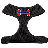 Mirage Pet Products Bone Flag Norway Screen Print Soft Mesh Dog Harnesses, X-Large, Black