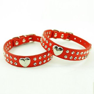 Enjoying Red Puppy Dog Leather Collars Necklaces With Lovely Heart Charm Bling Crystal-Medium