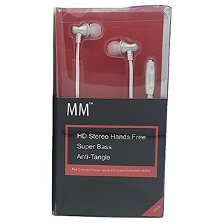 MM In-Ear Headphones HD Dynamic Stereo with Microphone, White