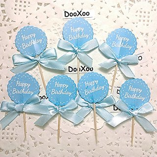 Buy DOOXOO Blue Flower Happy Birthday Cupcake Toppers Party Favor Printable Round Tags Instant Download Diy Digital Stick Online 1562 From ShopClues