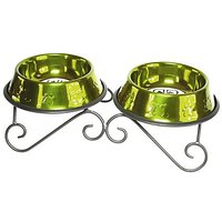 Platinum Pets 3-Cup Scroll Double Diner Stand With Two Bowls, Corona Lime