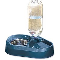 Dosckocil (Petmate) DDS24036 Plastic Combo Dog Feeder And Waterer With Stainless Steel Bowl