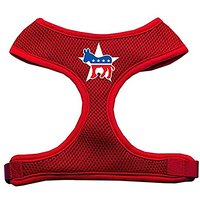 Mirage Pet Products Democrat Screen Print Soft Mesh Dog Harnesses, X-Large, Red