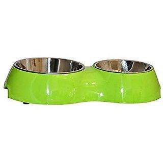 ALEKO LPB1512G Double Diner Pet Bowl, Melamine With Steel Removable Bowl, Green Color