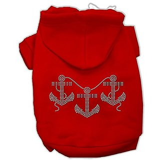 Mirage Pet Products 20-Inch Rhinestone Anchors Hoodies, 3X-Large, Red