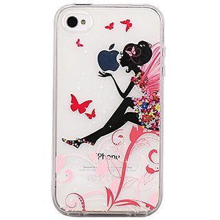 iPhone 4 Case, JAHOLAN Flower Clear Edge TPU Soft Case Rubber Silicone Skin Cover for iphone 4 4s - Flower Fairy