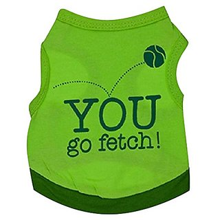 WEI QIU Pet Dog Puppy Top Jacket Clothes Apparel Fetch the Ball Pattern Sheer T Shirt Sweatshirt Small Green
