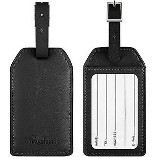 Travelambo Leather Luggage Tag & Baggage Bag Tag & Cruise Tag & Business Card Holder (black)