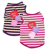 Yueton Pack Of 2 Fashion Pet Puppy Summer Small Dog Cat Pet Clothes Stripe Vest T Shirt Apparel Costume (Pink+Purple)