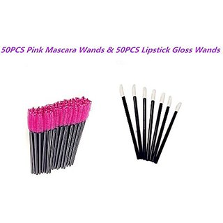 G2PLUS 50 Pack Disposable Eyelash Mascara Brushes Wands Applicator Pink50 Pack Disposable Makeup Lip Brushes Lipstick Gl