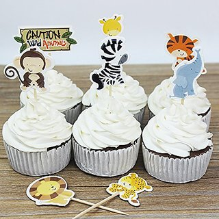 Winrase Pack of 24 Cute Kids Party Decoration Paper Cupcake Toppers (Wild Animals)