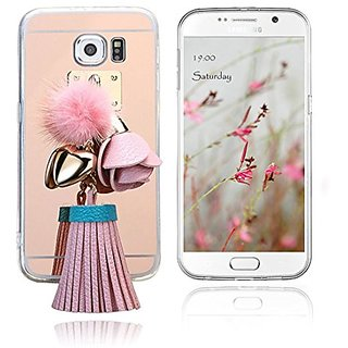 Generic Fluffy Pom Pom Ball Tassels Diamond Soft TPU Gel Back Case Cover with Mirror for Samsung Galaxy S6 (Pink)