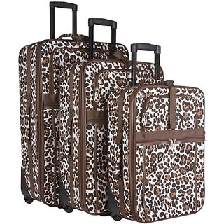 Brown Animal Print 3 Piece Luggage Set