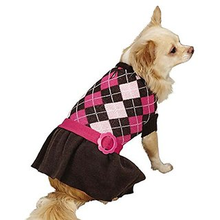 Zack & Zoey Argyle Prep Pet Sweater, X-Small, Pink