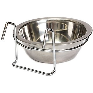 JinPet Pet Stainless Steel Cage Hanging Bowl Medium