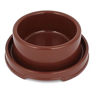 Uxcell Plastic Pet Drinking Water Food Bowl, Coffee Color