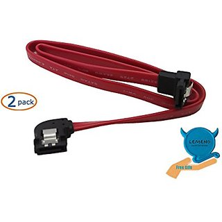 LEMENG 20 Inch Up Angle 7Pin SATA to Down Angle 7Pin SATA Serial ATA Cable with Locking Latch(2 Pack Red )