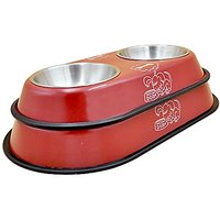 Sweetpet Stainless Steel Double Diner Dog Cat Pet Bowl Red Small