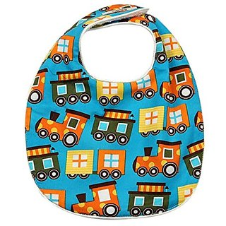 My Blankee Baby Boy Bib, Turquoise Train