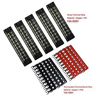 5 Pcs Dual Row 10 Position Screw Terminal Strip 600V 15A + 400V 15A 10 Postions Pre Insulated Terminal Barrier Strip Red