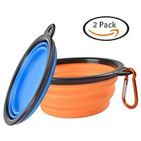 Pet Travel Collapsible Dog Bowl - L-Tiger (2 Pcs) Pet Food And Water Feeding Bowls For Beach Camping Running & Hiking Po