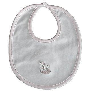 Kissy Kissy Baby-Girls Infant Our Ark Reversible Bib-White With Pink-One Size