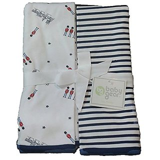 Baby Gear Baby Boys 2-pk London Blankets (Guards and Navy Stripes)