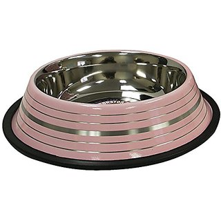 cadet Non-Skid Stainless Steel Dog Bowl, 32-Ounce, Pink