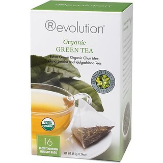 Revolution Tea, Organic Green Tea (Certified Organic), 16 Flow-through Infuser Bags in a Stay-Fresh Container
