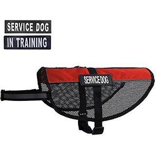 BINGPET Mesh Reflective Service Dog Vest Cool Comfort Harness with 2 Free Removable