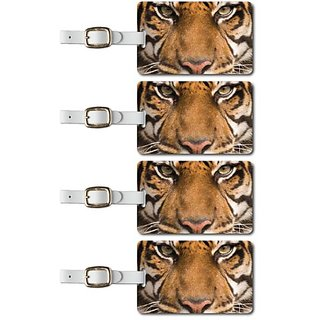 Tag Crazy Tiger Face Premium Luggage Tags Set Of Four, Gold, One Size