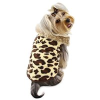 Adorable Padded Leopard Print Dog Vest With Fur Collar Size: Large