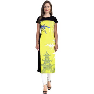 Janasya Womens Yellow Digital Printed Crepe Stitched Kurti Jne1122-Yellow-Kr-09-Xl