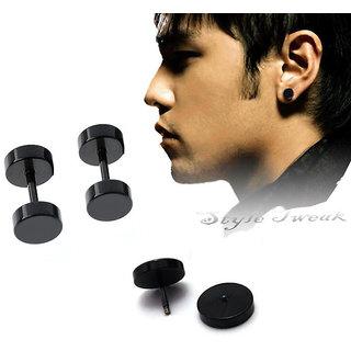 Black Small 8mm Pair of Barbell Earrings CODE ae-3801