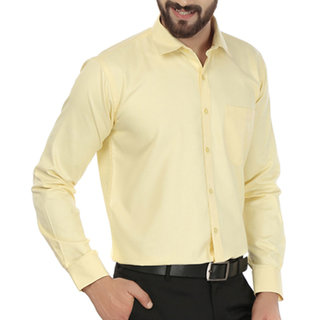Yellow Solid Men'S Formal Shirt