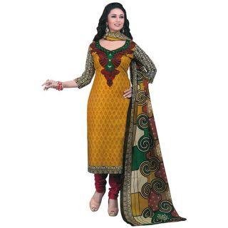 Ethnic Basket Yellow Printed Art Silk Unstitched Dress Material