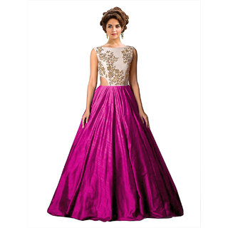 Ethnic Basket Pink Embroidered Silk Gown