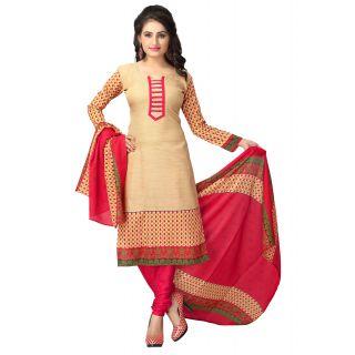 Ethnicbasket Cream Printed Crepe Salwar Suit Material