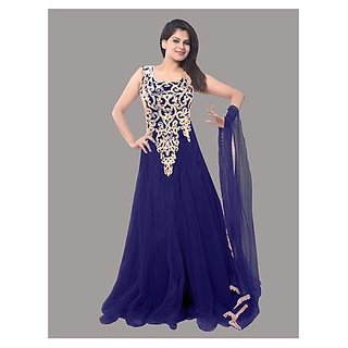 Ethnic Basket Blue Embroidered Net Gown