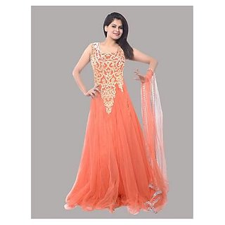 Ethnic Basket Orange Embroidered Net Gown