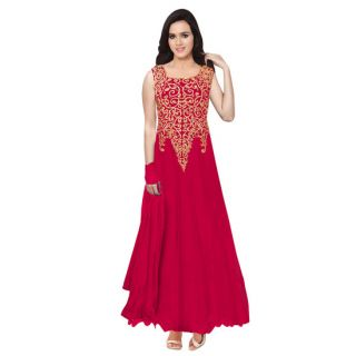 Ethnic Basket Maroon Embroidered Net Gown