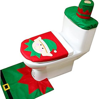 Futaba Christmas Decor Elf Toilet Seat Cover And Rug Bathroom Set