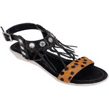 Berry Purple Women's Black Buckle Sandals
