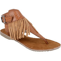 Berry Purple Women's Tan Buckle Sandals