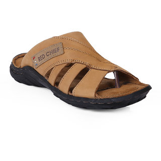 Red Chief Men Beige Slip-on Sandals