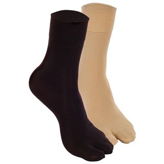 FNB WOMENS SKIN AND BLACK COTTON SOCKS ( PACK OF 2)