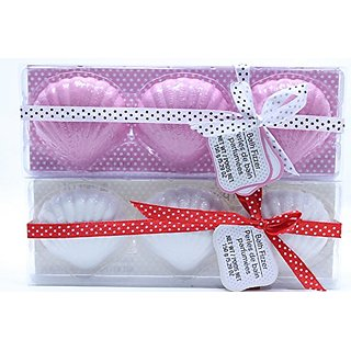 3 Pink and 3 White Shell Shaped Bath Fizzer Spa Relax Bubble