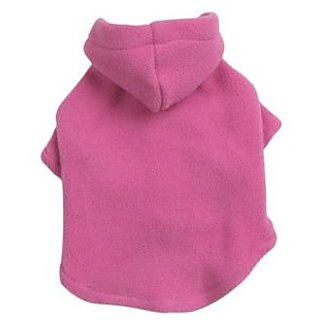 Casual Canine Polyester Basic Fleece 10-Inch Dog Hoodie, X-Small, Pink